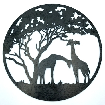Garden Decor - 'Safari Adventure' Corten Steel Wall Decoration - 40cm dia x 3mm thick
